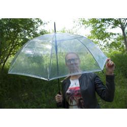 Hit Long Priehľadný - dámsky holový vystreľovací dáždnik
