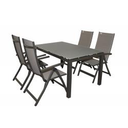 SALERNO ACTIVE sivé - hliníkové záhradné sedenie 4+1