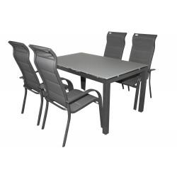 SALERNO MIAMI sivé - hliníkové záhradné sedenie 4+1