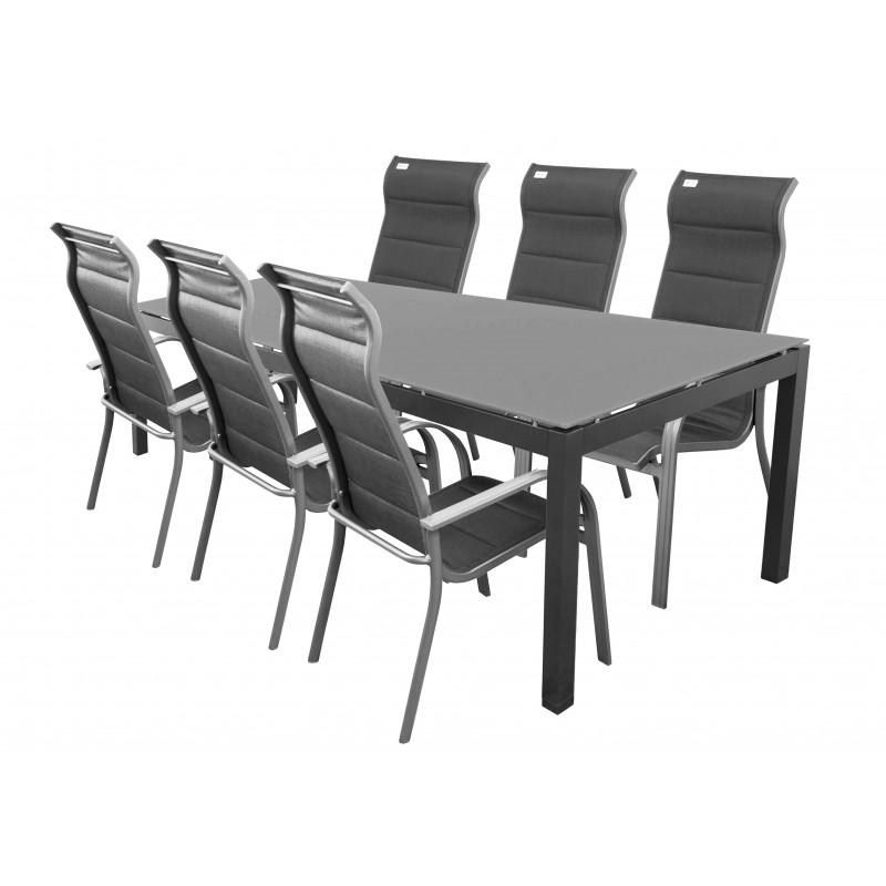 SALERNO MIAMI sivé - hliníkové záhradné sedenie 6+1/ stôl 210x100