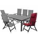 SALERNO ACTIVE sivé - hliníkové záhradné sedenie 6+1/stôl 210x100