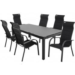 SALERNO MIAMI antracit - hliníkové sedenie 6 + 1 / stôl 150x90